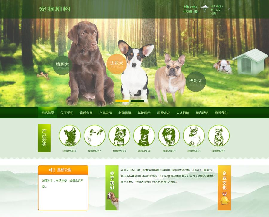宠物类展示型网站(带手机端)